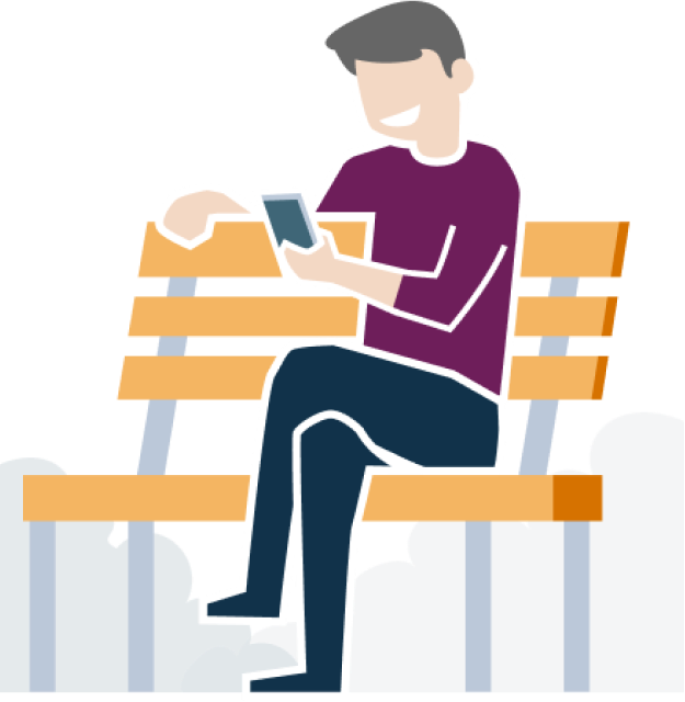 Man on a bench using the earnest app